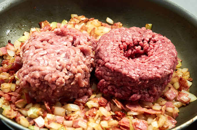 Ground Beef and Pork in Pan