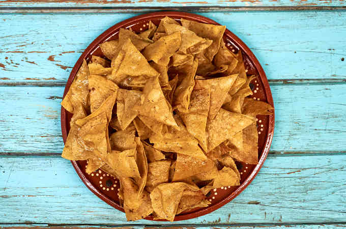 Homemade Tortilla Chips Totopos