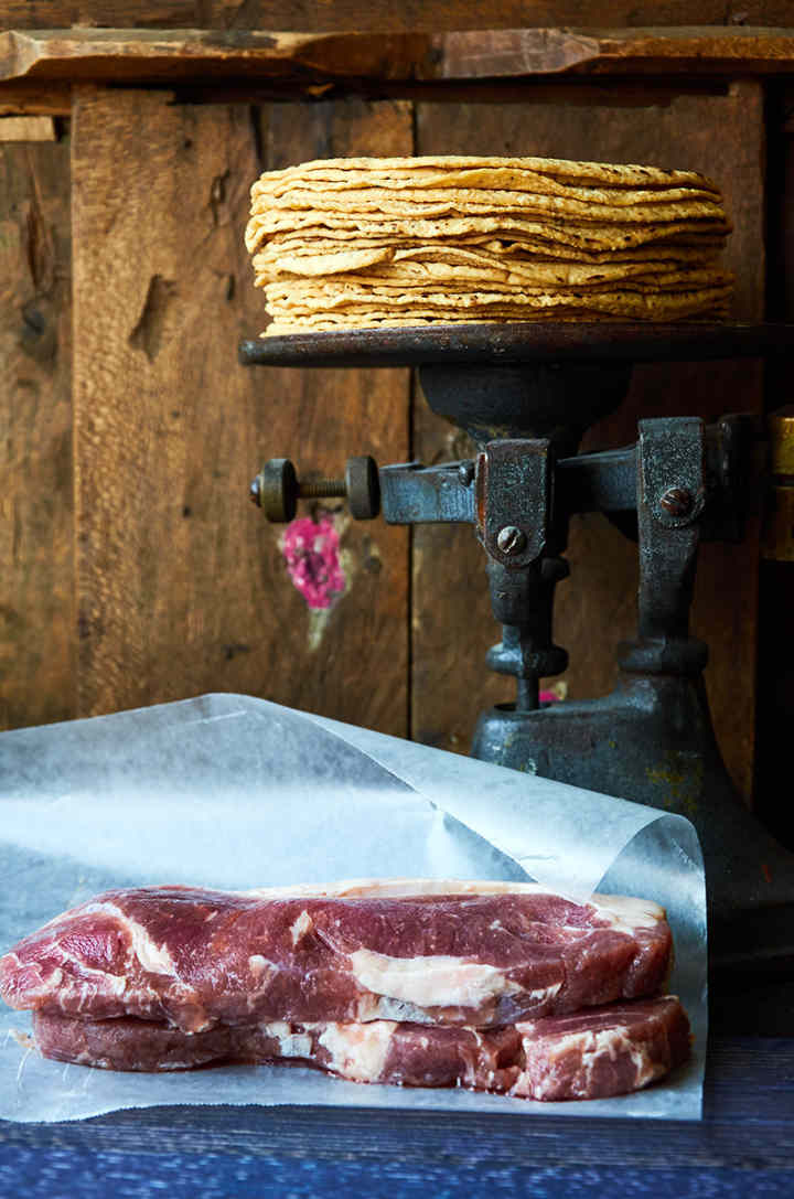 Rib Eye Steaks and Corn Tortillas