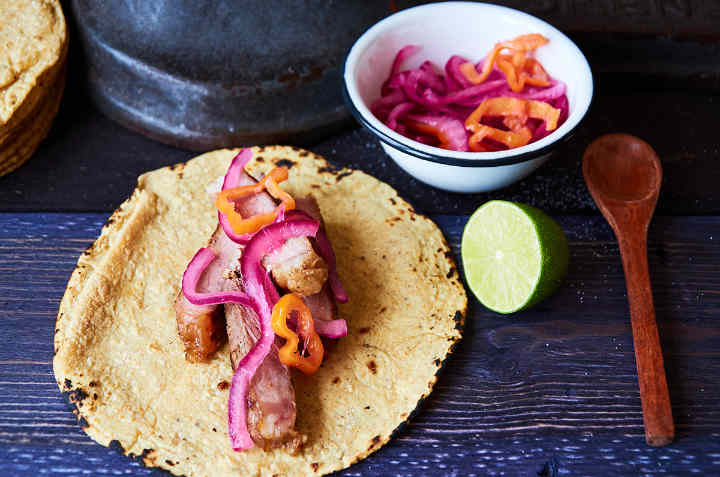 Rib Eye Taco with Red Onion Habanero Salsa on Corn Tortilla