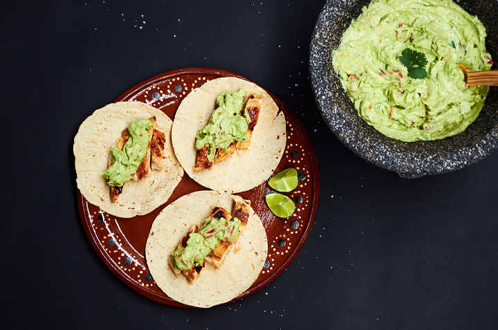 Plate of Chicken Tacos with Avocado Salsa