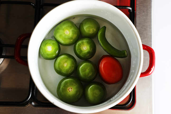 Tomatillos Cooking in Pot