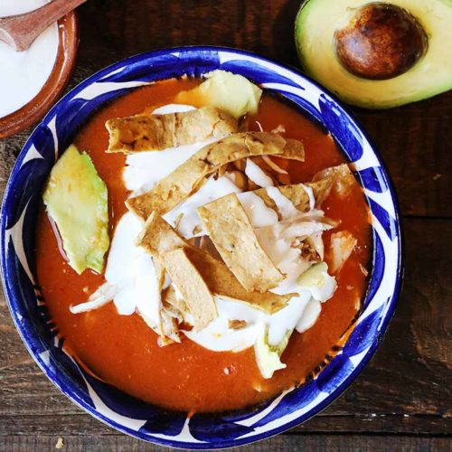 Bowl of Authentic Chicken Tortilla Soup