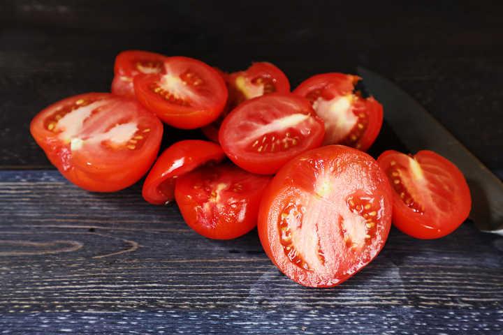 Roma tomatoes (plum) cut in half.