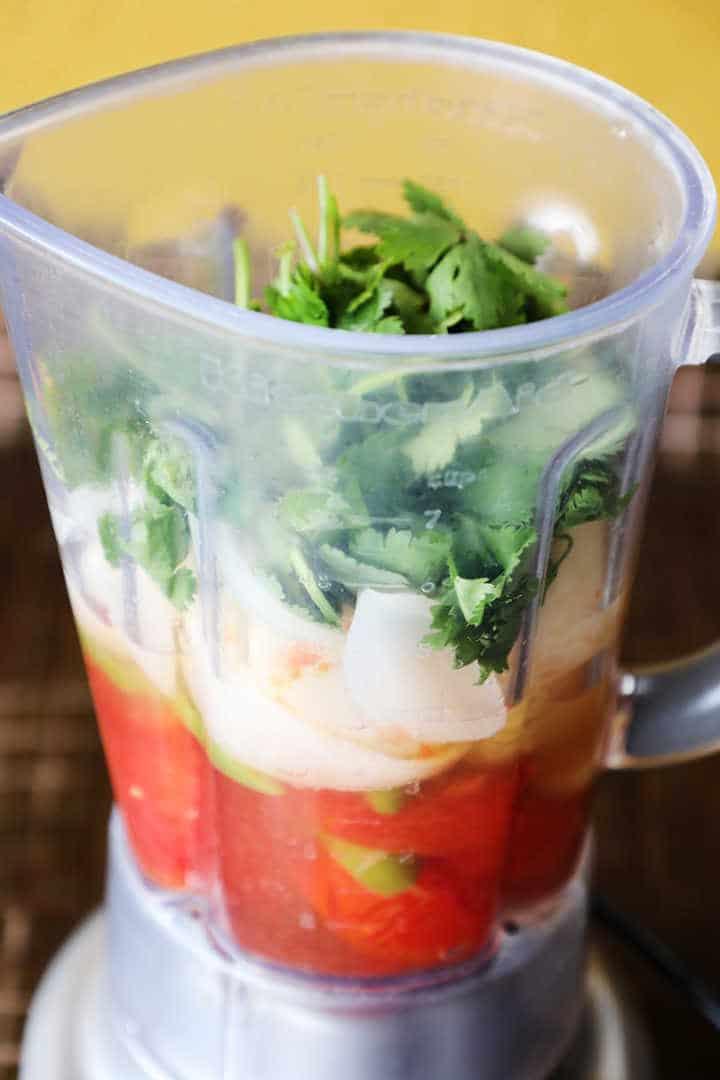 Salsa Roja Ingredients in Blender Jar
