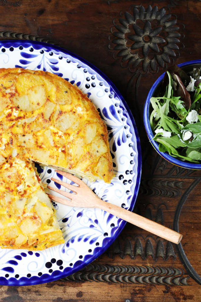 Spanish Omelette Served with Green Salad