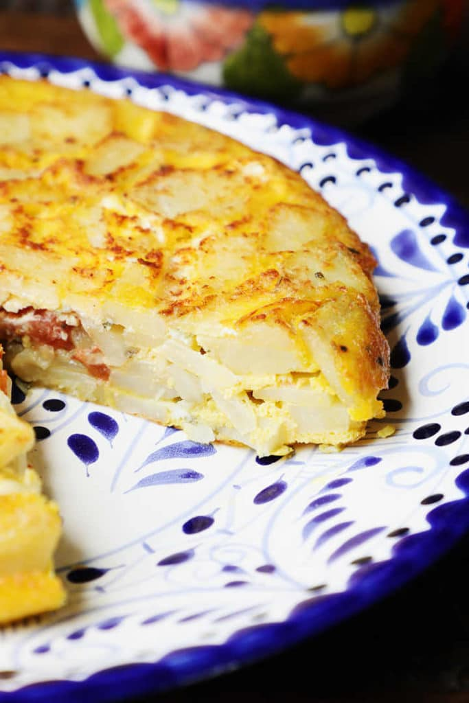 Spanish Omelette Served on Talavera Plate