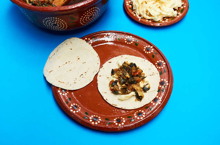 Filling Quesadillas with Huitlacoche Mixture