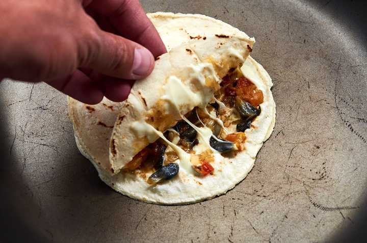 Huitlacoche Filled Quesadilla in Pan
