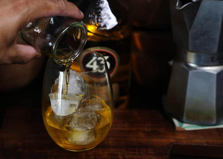 Pouring Licor 43 into Glass