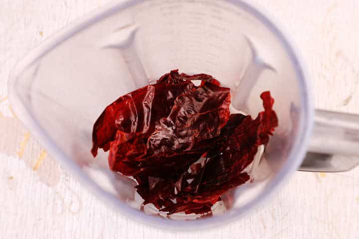 Seeded Guajillo Chiles in Blender Jar