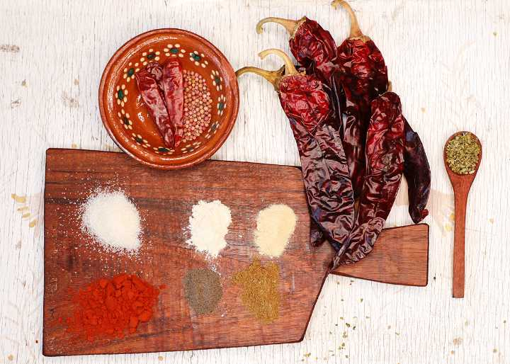 Authentic Fajita Seasoning Ingredients on Cutting Board