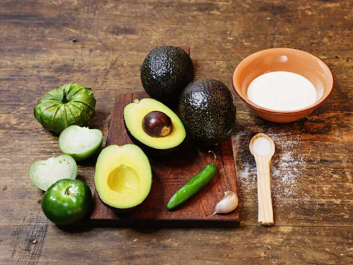 Creamy Avocado Salsa Ingredients on Cutting Board