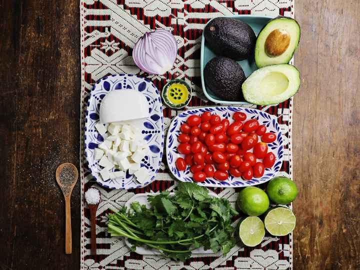 Avocado Salad Ingredients on Table