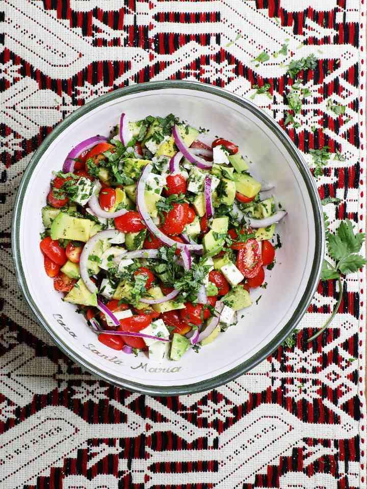 Summer Avocado Salad in Serving Bowl