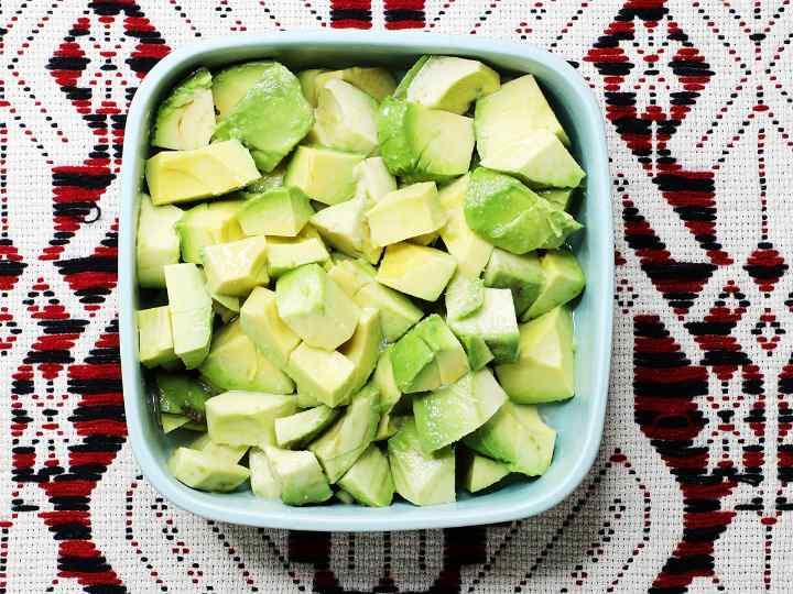 Bowl of Cubed Avocado