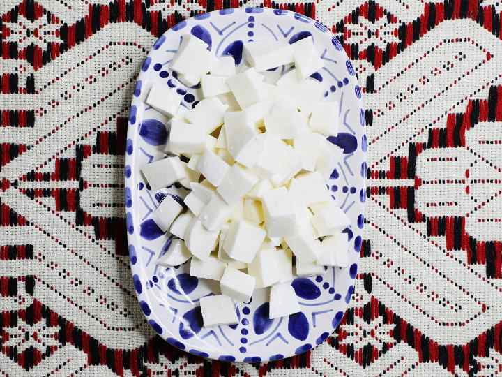 Cubed Cheese on Mexican Serving Platter