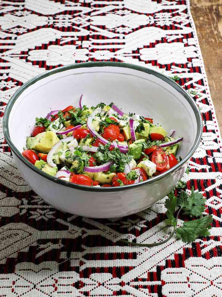Easy Avocado Salad in Ceramic Mixing Bowl