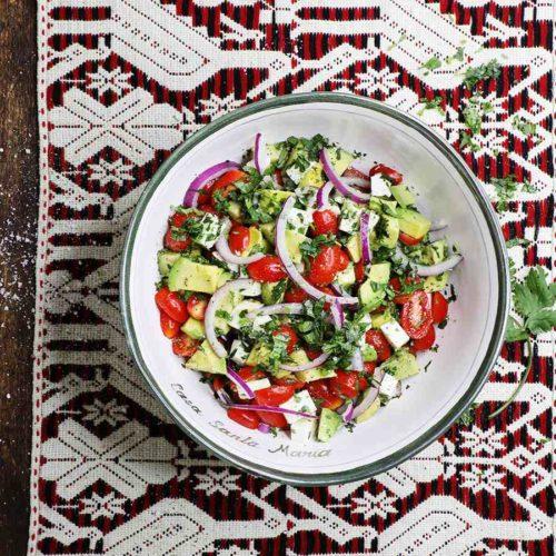 Mexican Avocado Salad in Ceramic Serving Bowl