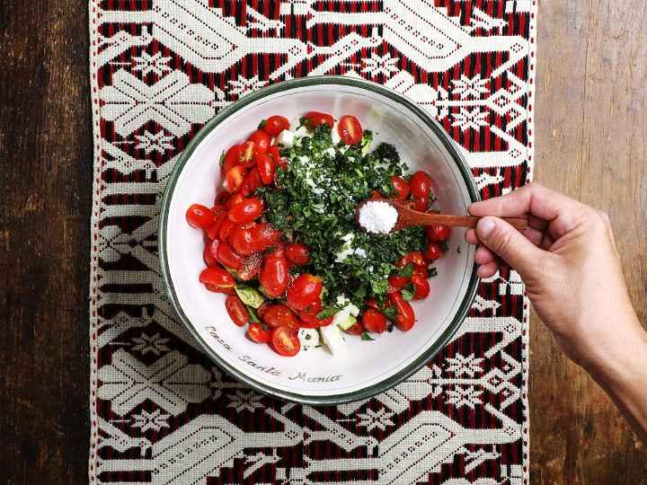 Adding Salt and Pepper to Salad
