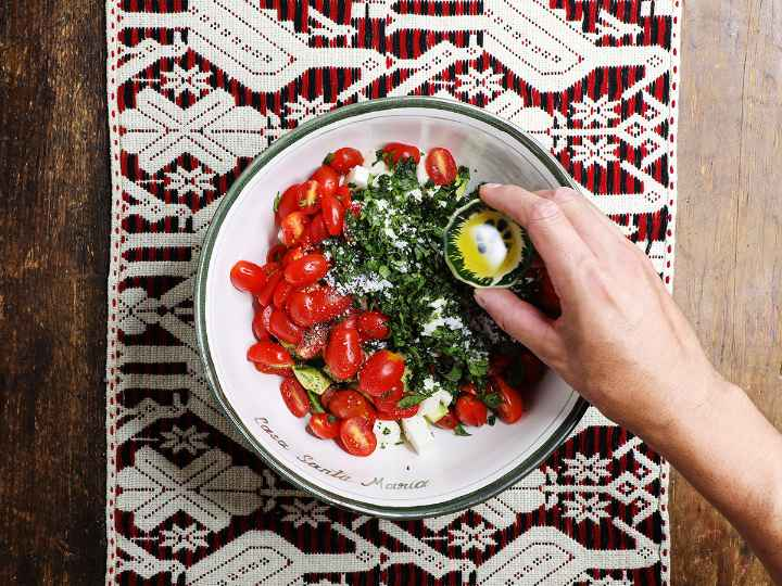 Adding Olive Oil to Salad