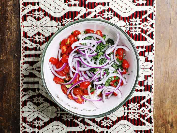 Adding Red Onion to Avocado Salad