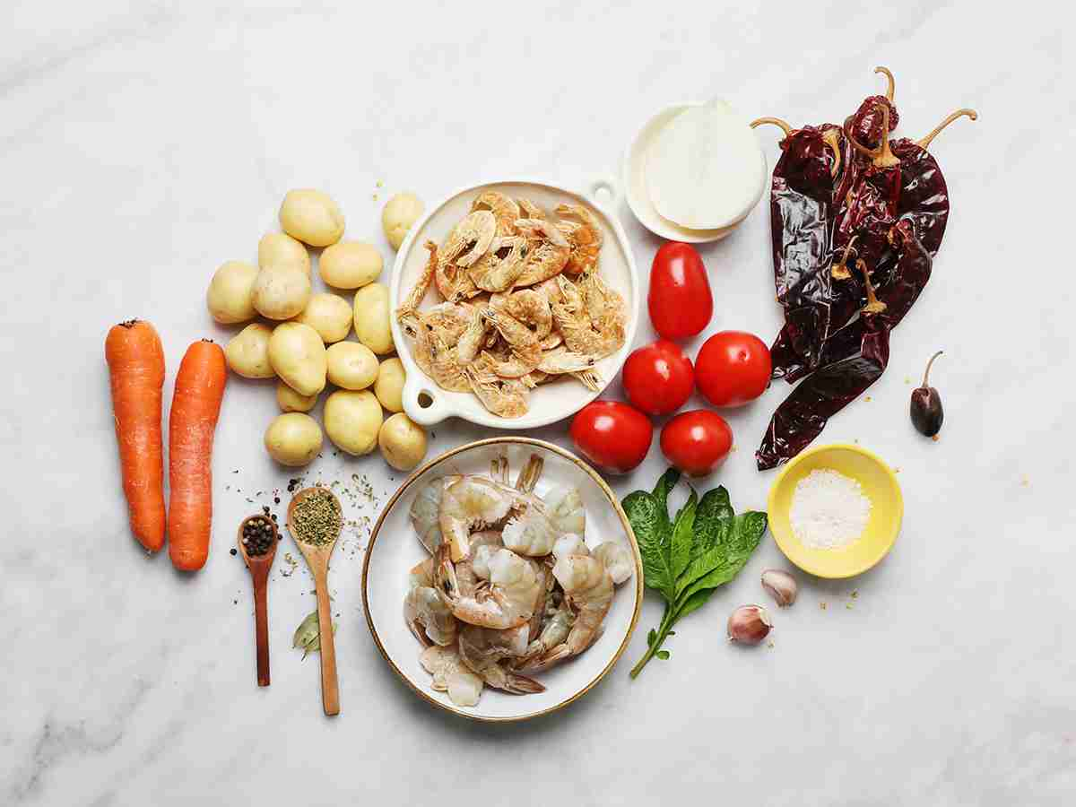 Ingredients for Mexican Shrimp Soup