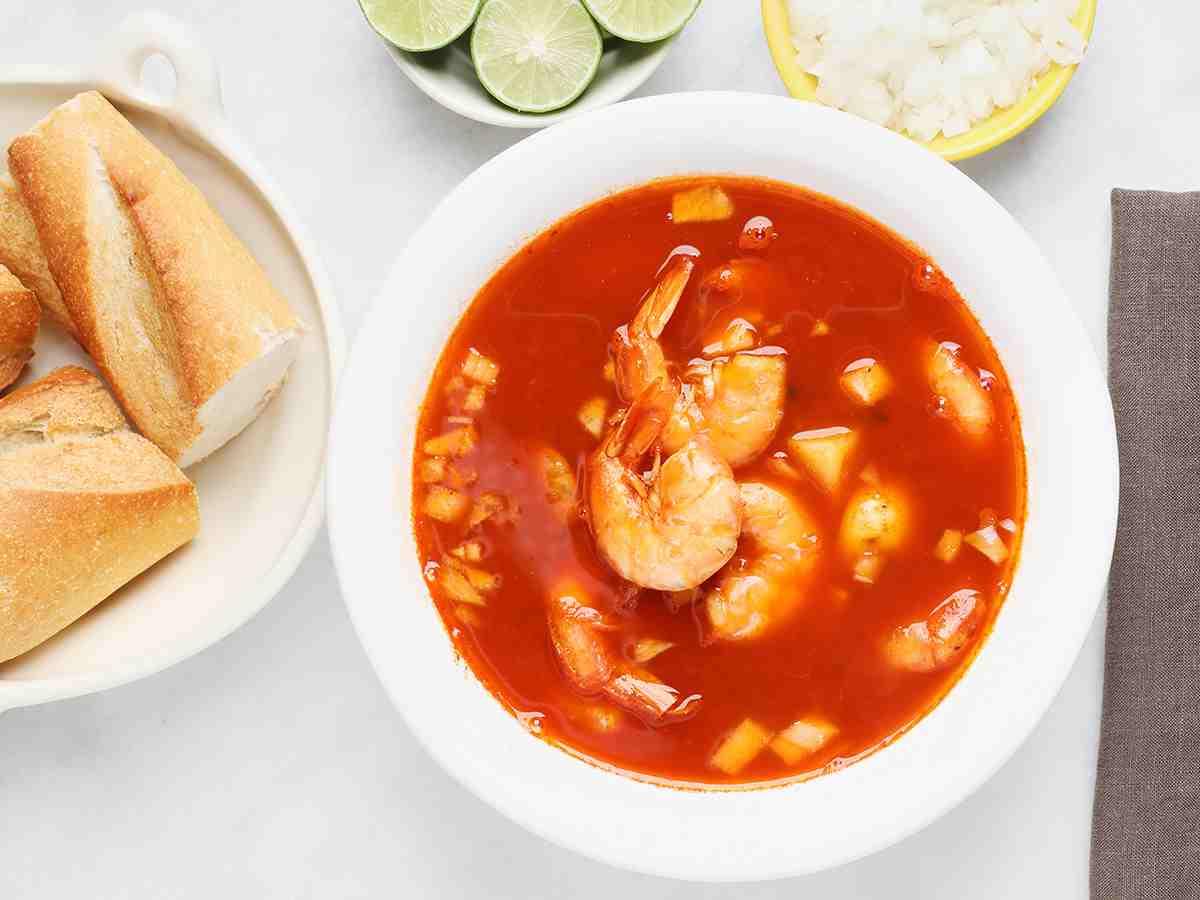 Bowl of Mexican Shrimp Soup Caldo de Camarón