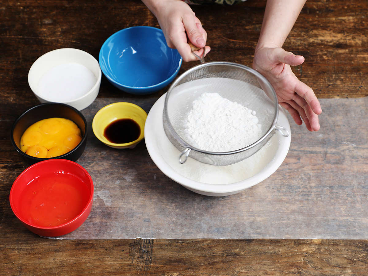 Sifting Flour in Mesh Strainer