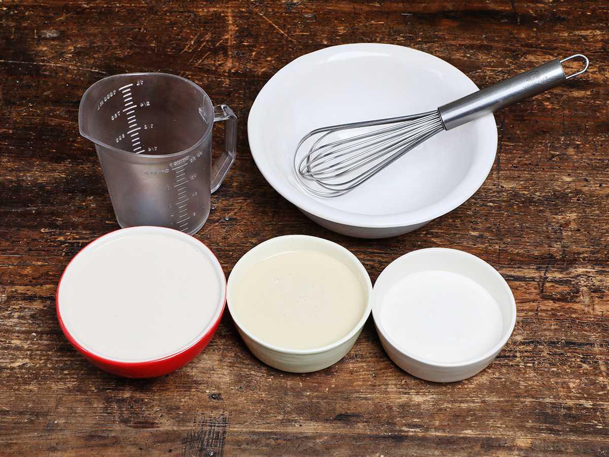 Three milks in bowls