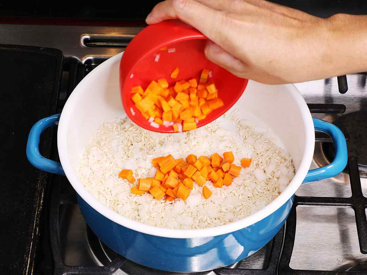 Adding Carrots and Onions to Rice