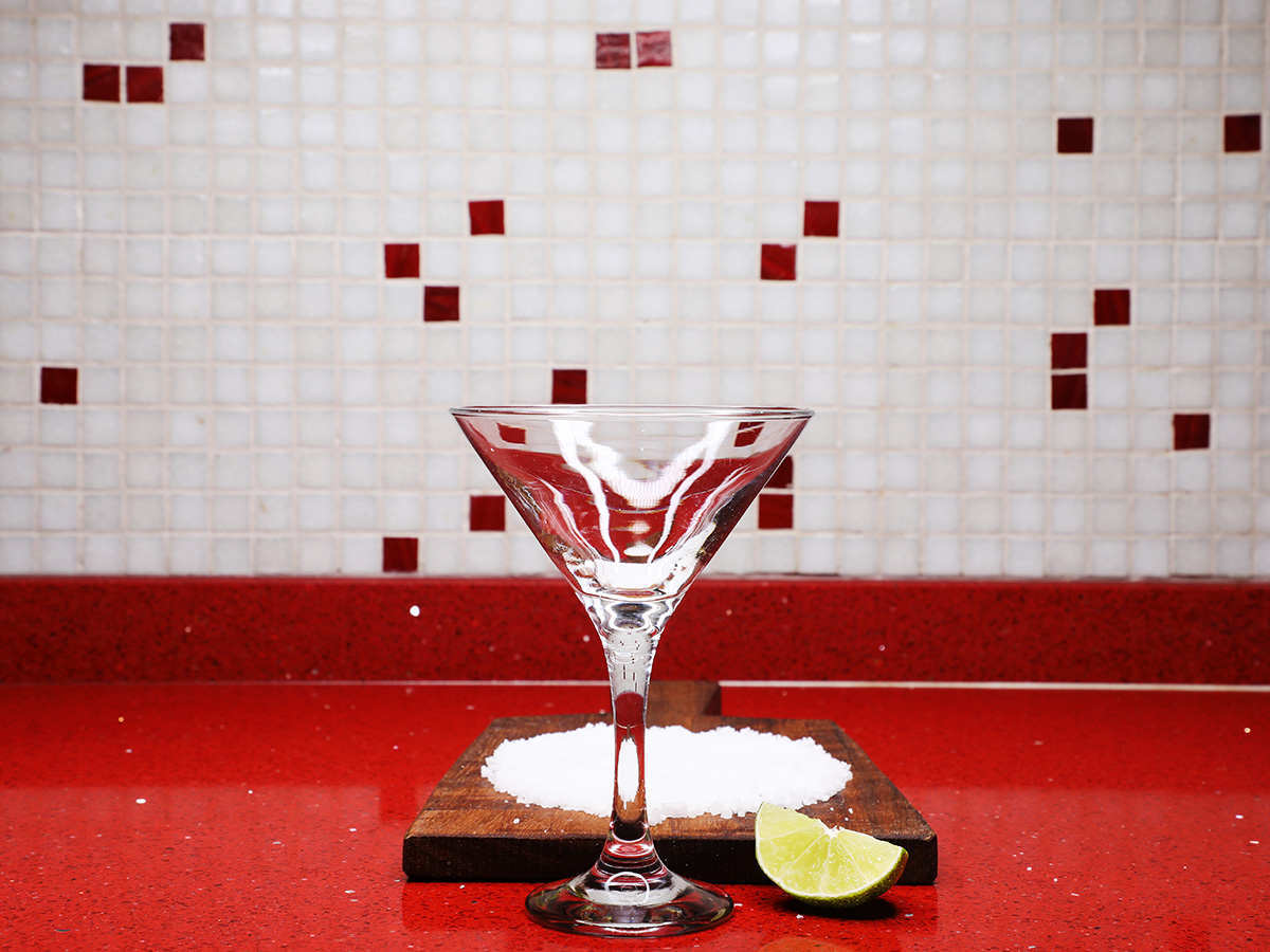 Margarita Glass with Salt and Lime