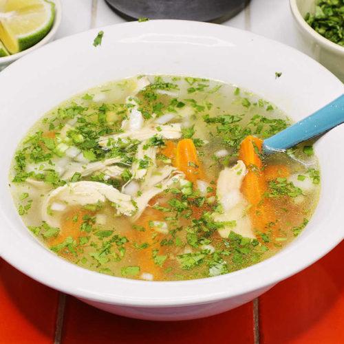 Bowl of Mexican Chicken Soup Caldo de Pollo