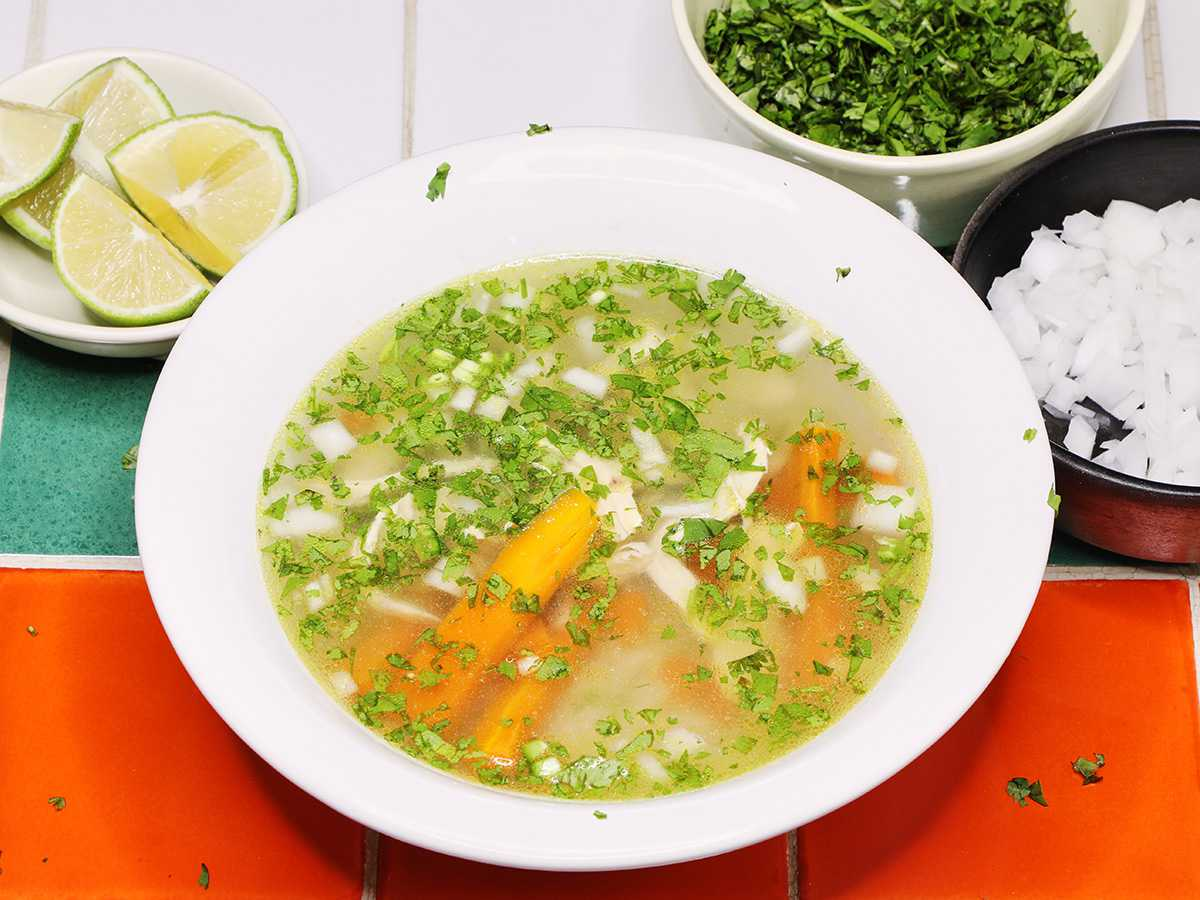 Mexican Chicken Soup Caldo de Pollo with Lime and Cilantro