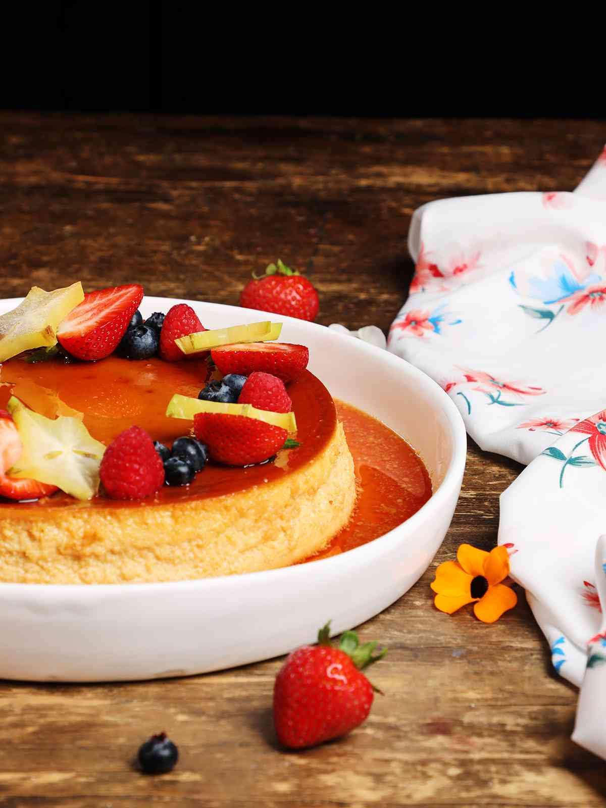 Mexican Flan Napolitano Topped with Fruit