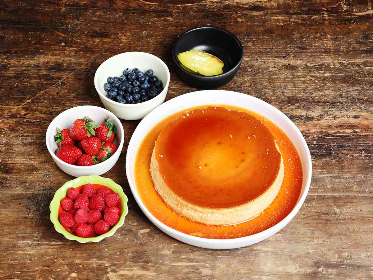Mexican Flan with Fruit Garnish