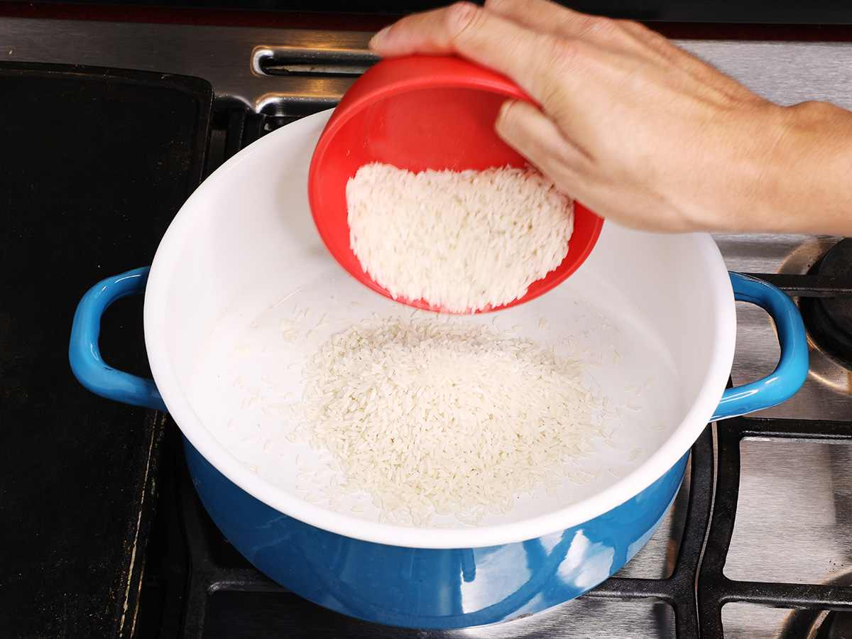 Pouring Rice into Pot
