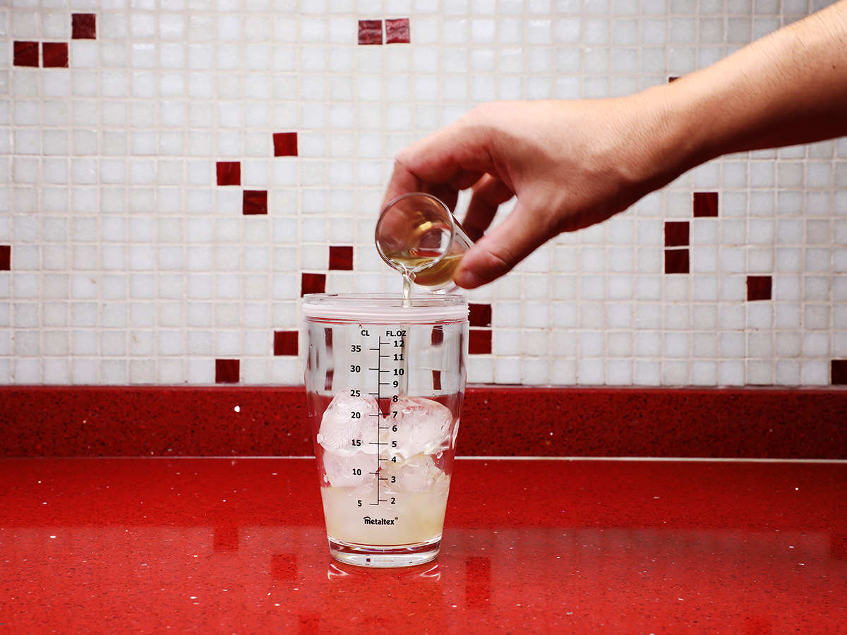 Pouring Syrup into Shaker