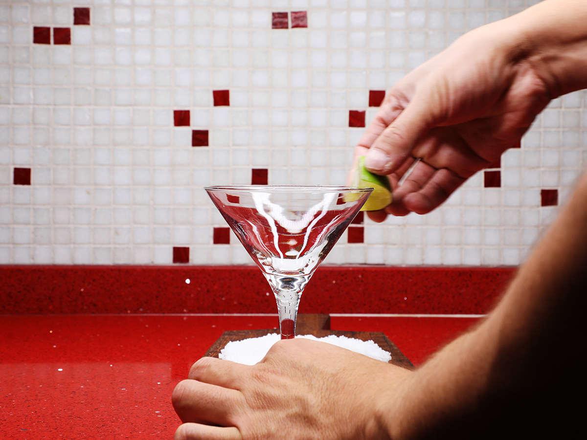 Preparing Margarita Glass with Lime