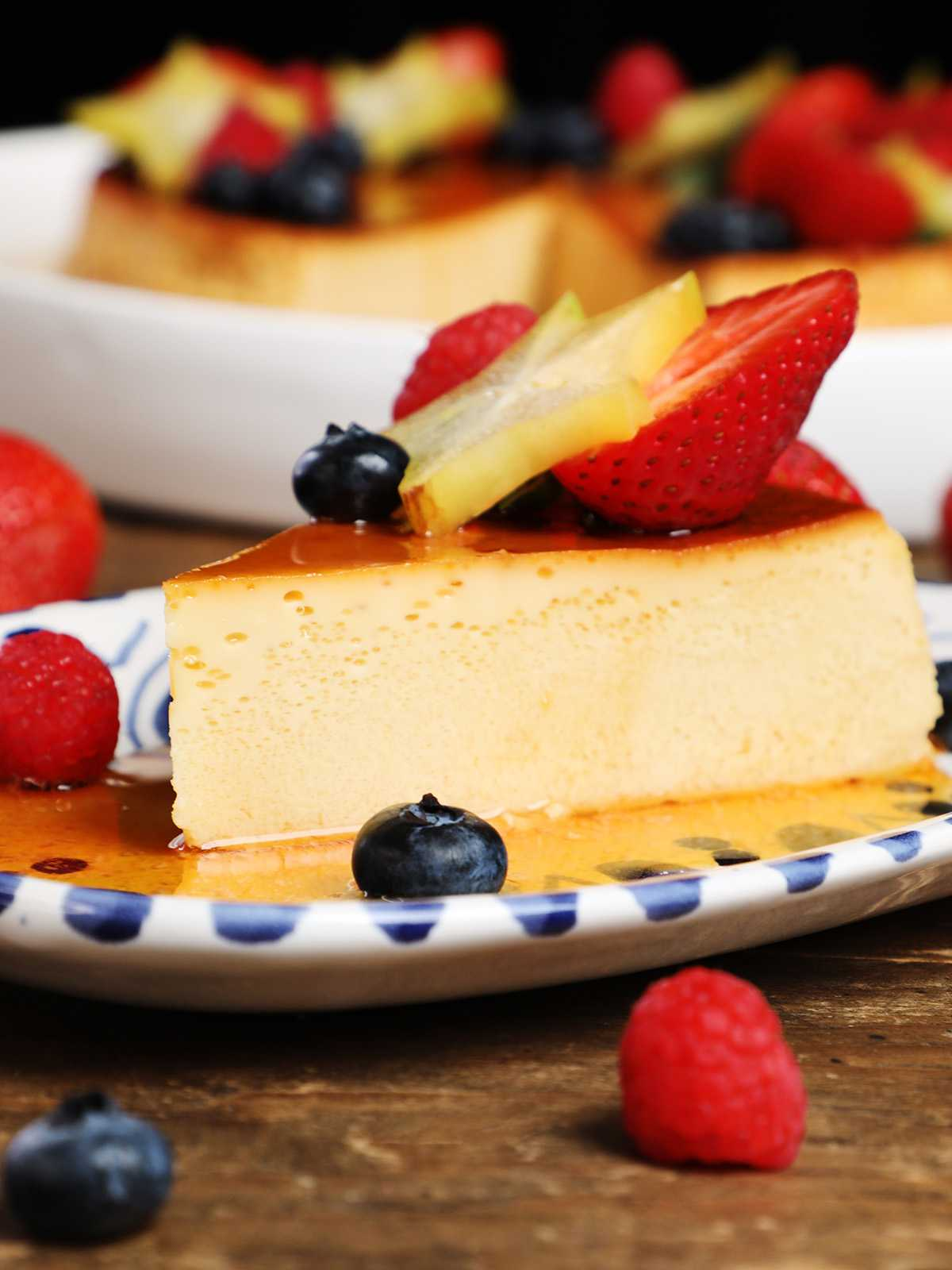 Slice of Flan Topped with Fruit