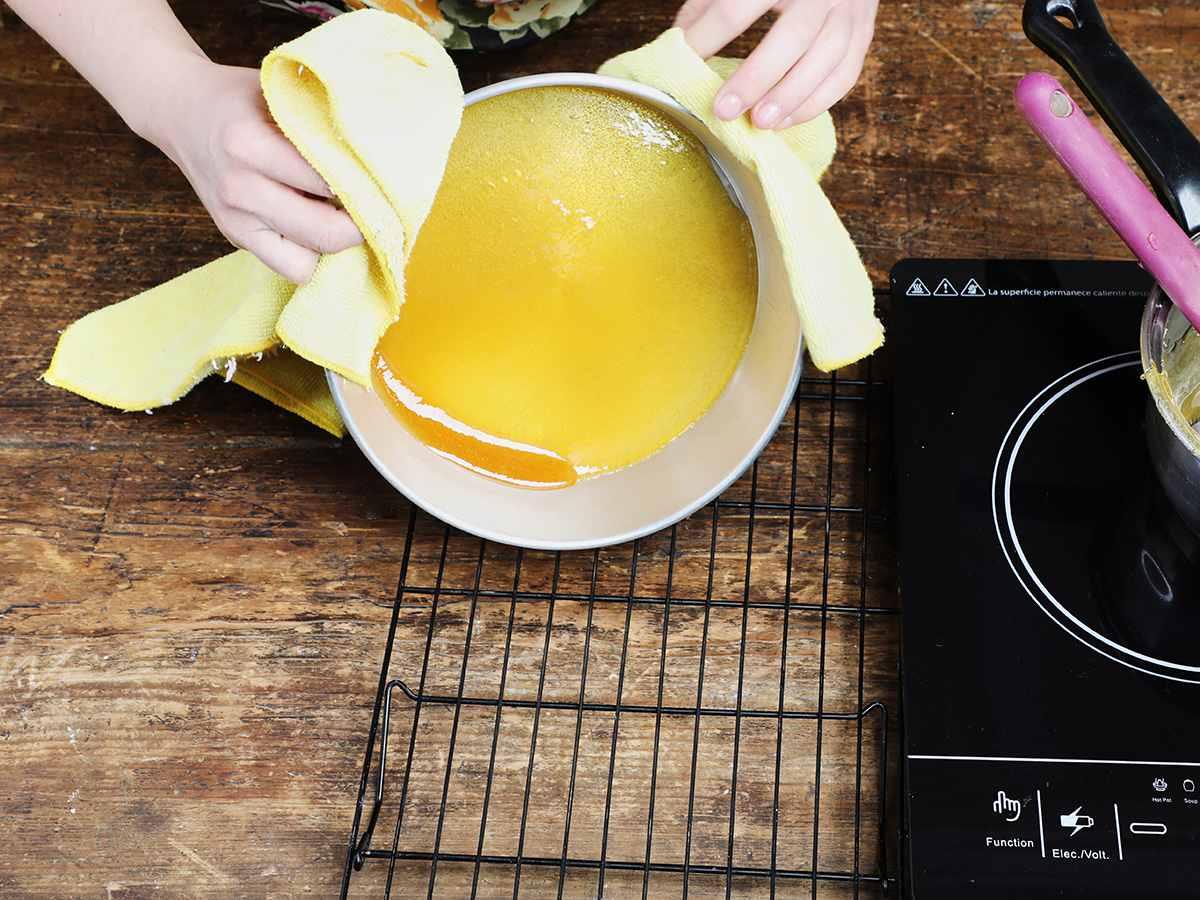 Swirling Caramel Sauce in Flan Pan