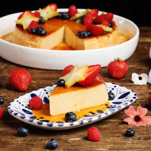 Flan slice topped with fruit