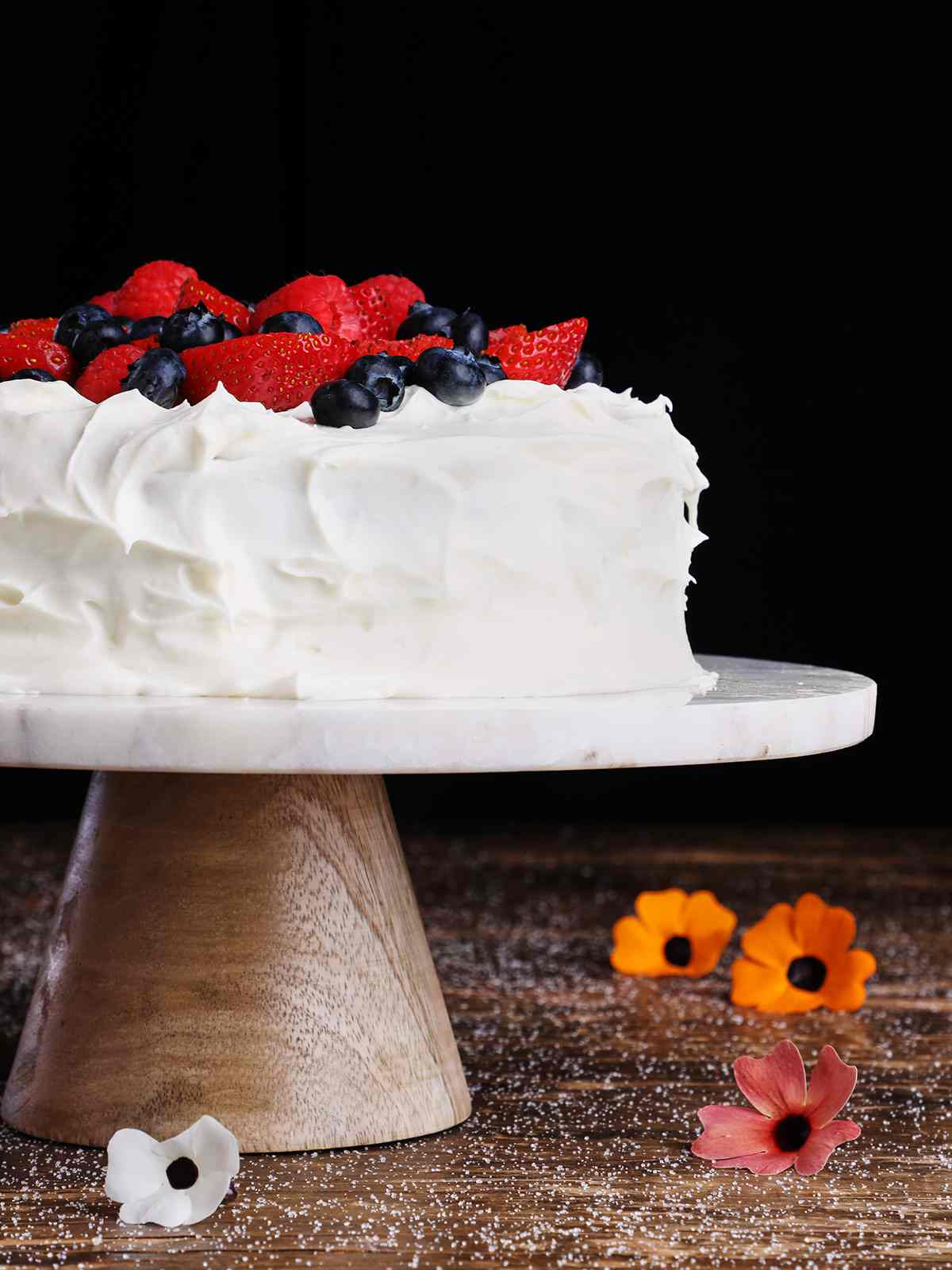 Tres Leches Cake with Berries on Pedestal