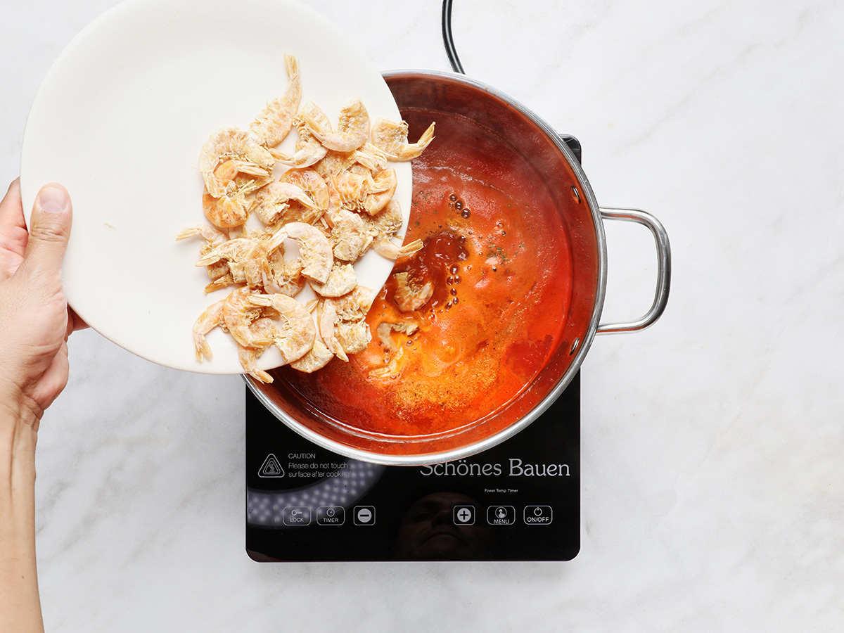 Adding Dried Shrimp to Caldo de Camarón