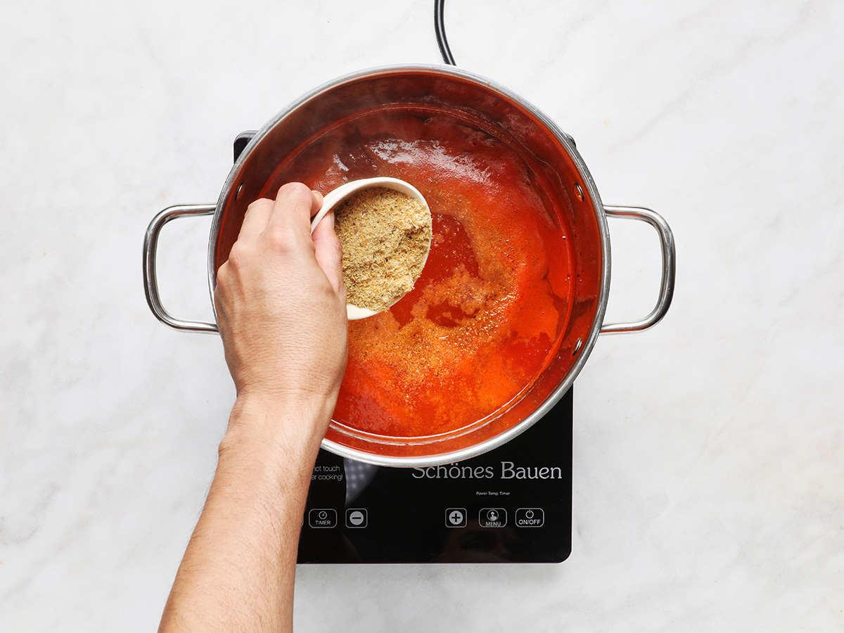 Adding Dried Shrimp to Shrimp Soup Broth