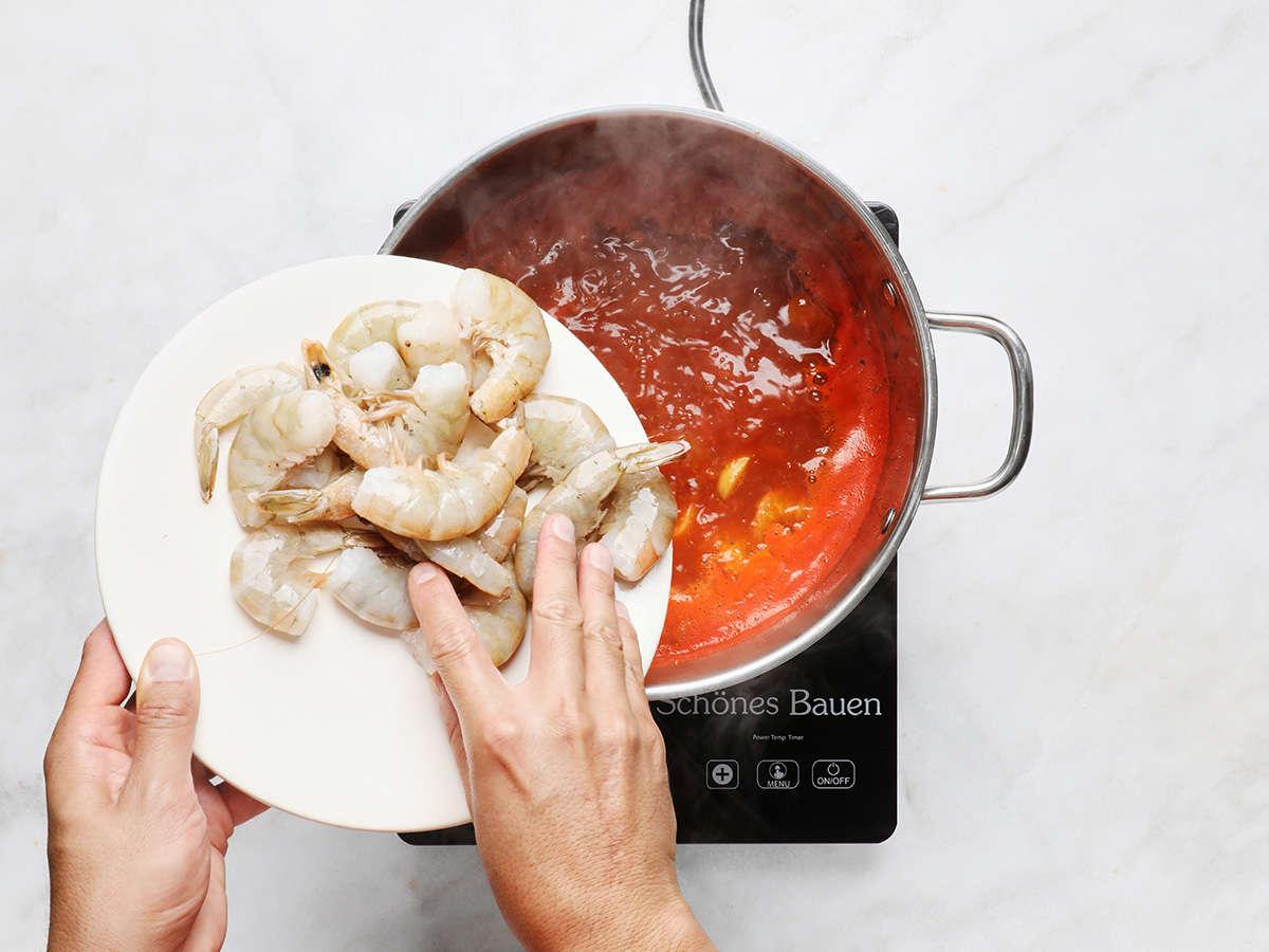 Adding Fresh Shrimp to Broth