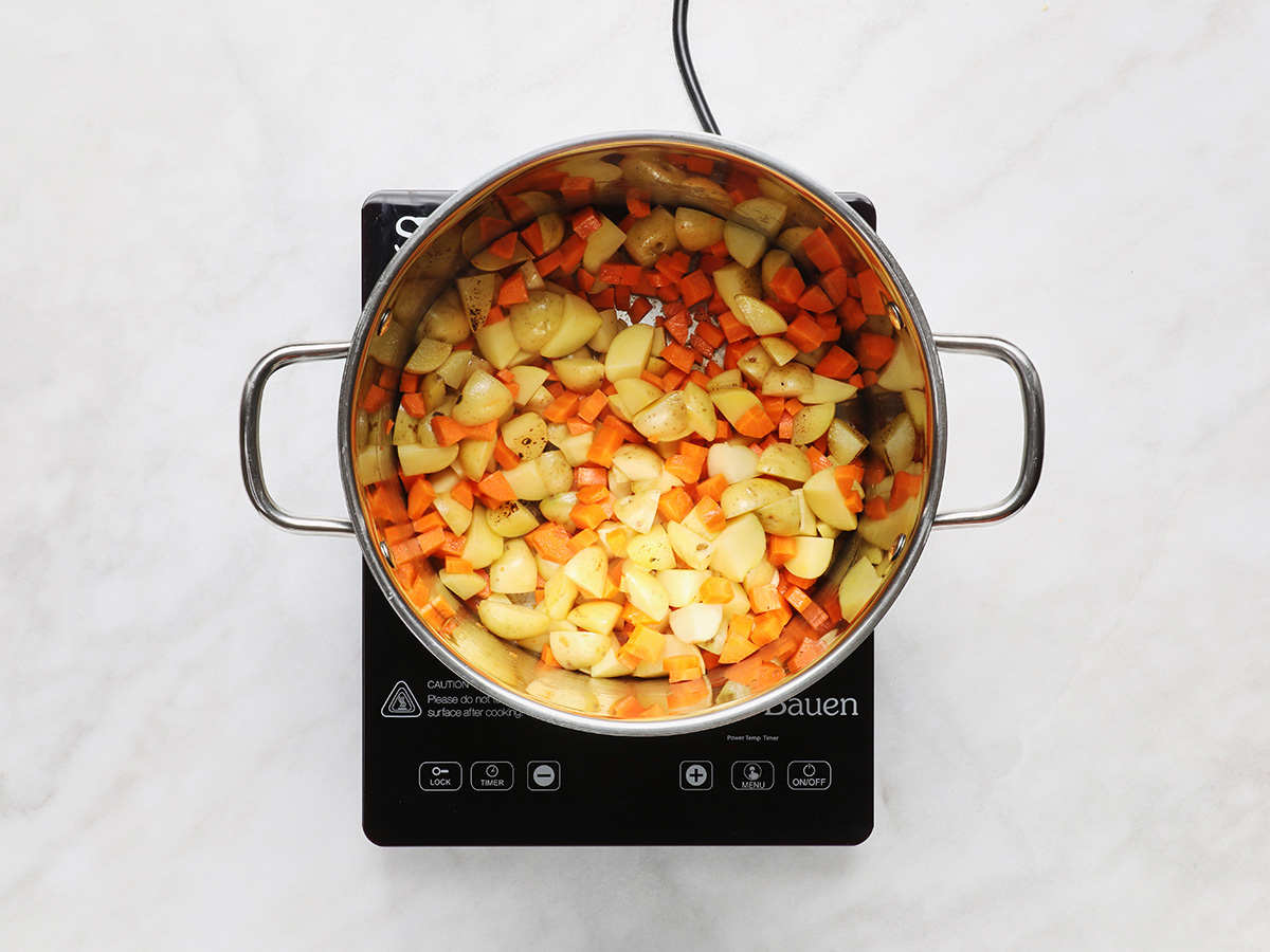 Carrots and Cambray Potatoes on Stovetop
