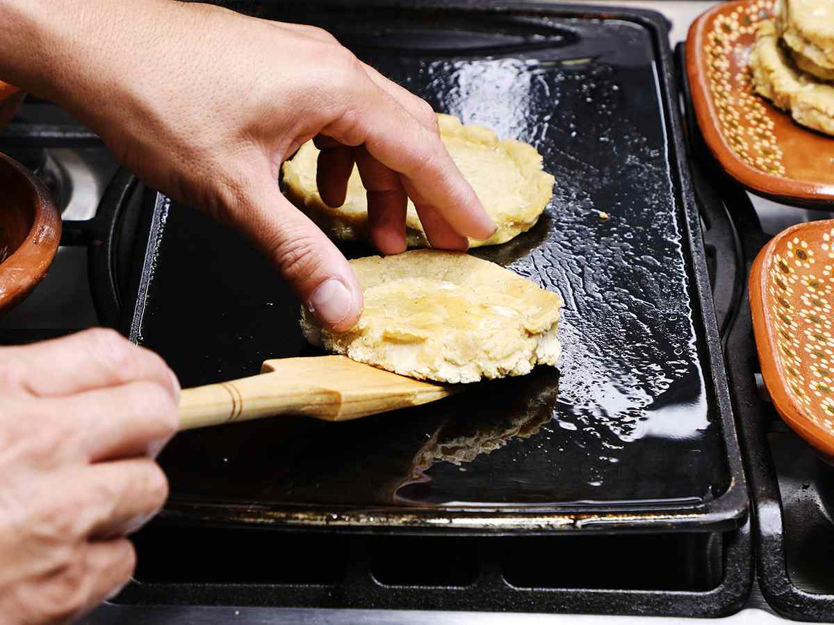 Flipping Sopes on Griddle