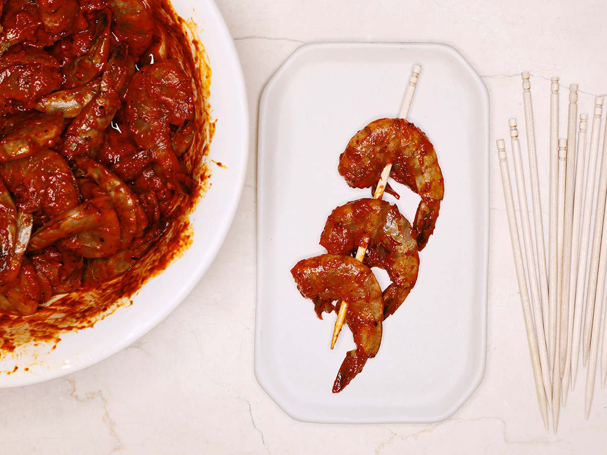 Marinated Shrimp on Skewer