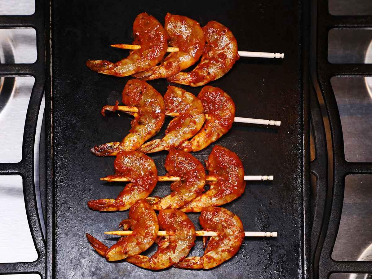 Mexican Shrimp Skewers on Griddle